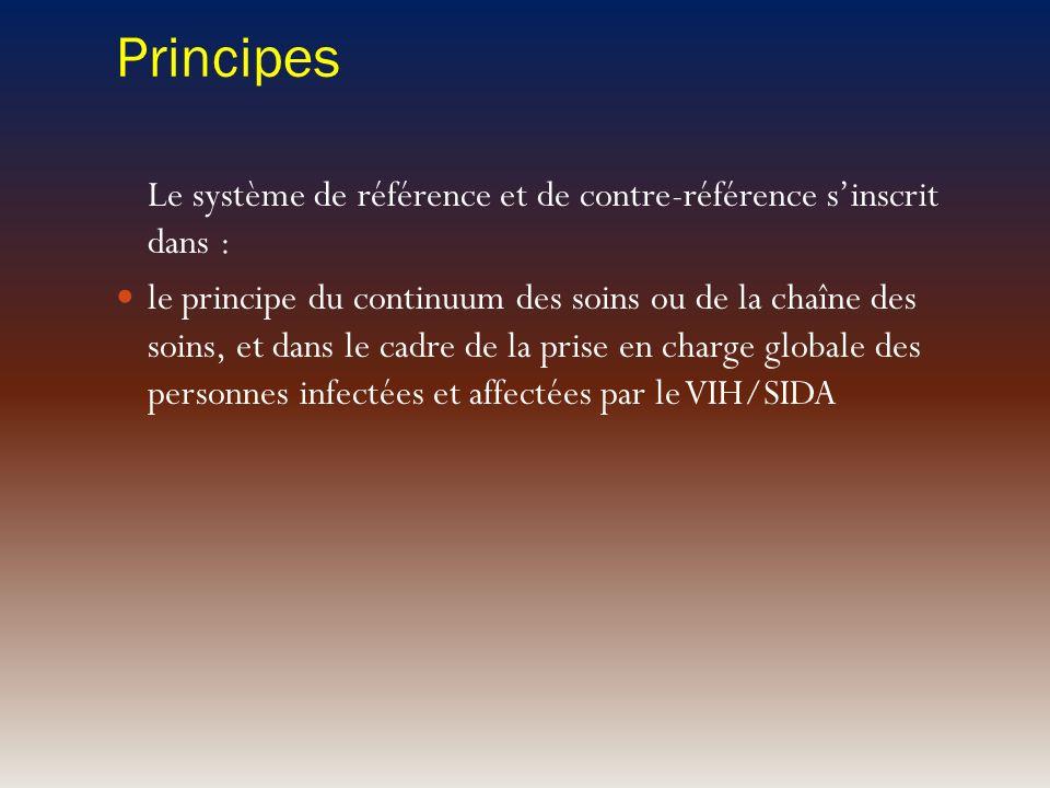 Principes Le système de référence et de contre-référence sinscrit dans : le principe du continuum des soins ou de la chaîne des soins, et dans le cadr