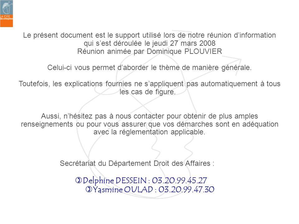 Le présent document est le support utilisé lors de notre réunion dinformation qui sest déroulée le jeudi 27 mars 2008 Réunion animée par Dominique PLO