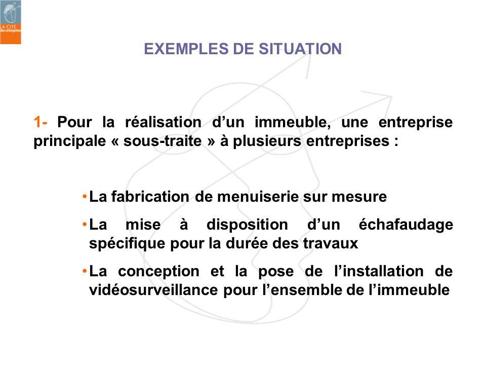 EXEMPLES DE SITUATION 1- Pour la réalisation dun immeuble, une entreprise principale « sous-traite » à plusieurs entreprises : La fabrication de menui