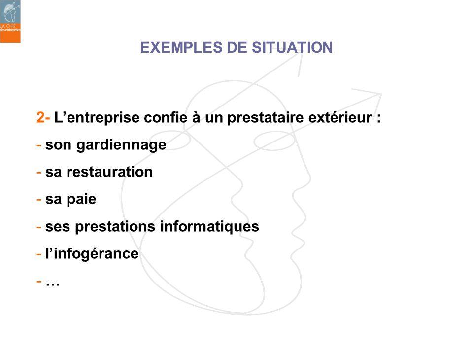 2- Lentreprise confie à un prestataire extérieur : - son gardiennage - sa restauration - sa paie - ses prestations informatiques - linfogérance - … EX