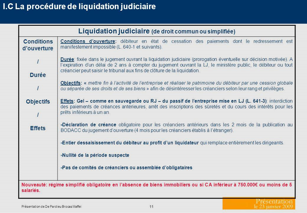 11 Présentation de De Pardieu Brocas Maffei I.C La procédure de liquidation judiciaire Liquidation judiciaire (de droit commun ou simplifiée) Conditio