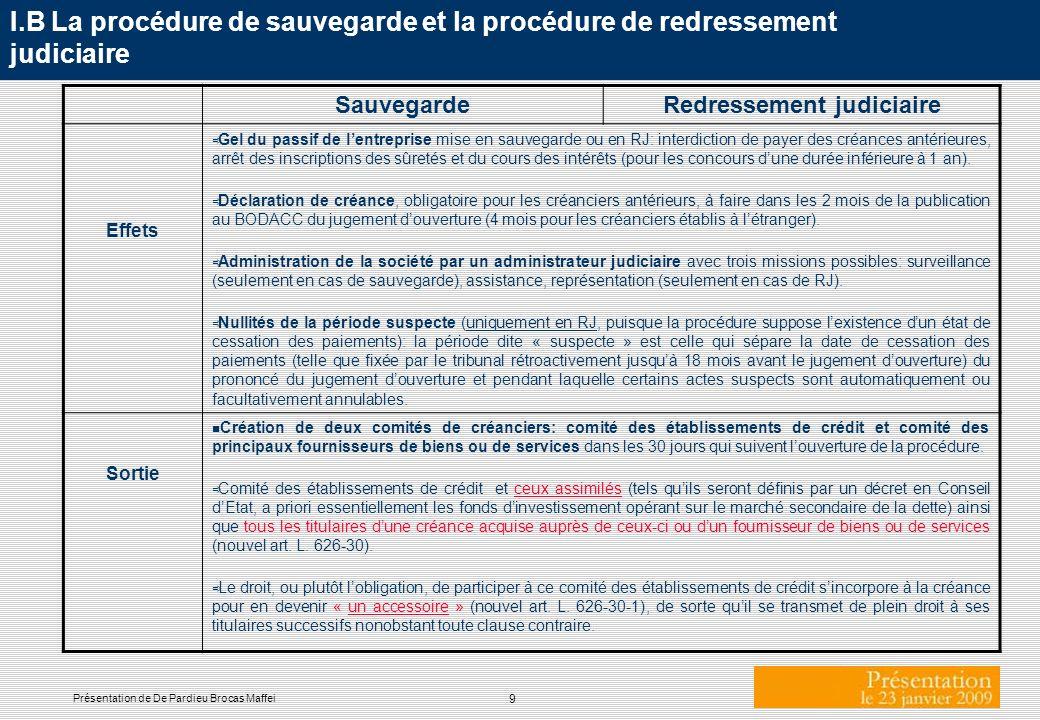 9 Présentation de De Pardieu Brocas Maffei I.B La procédure de sauvegarde et la procédure de redressement judiciaire SauvegardeRedressement judiciaire