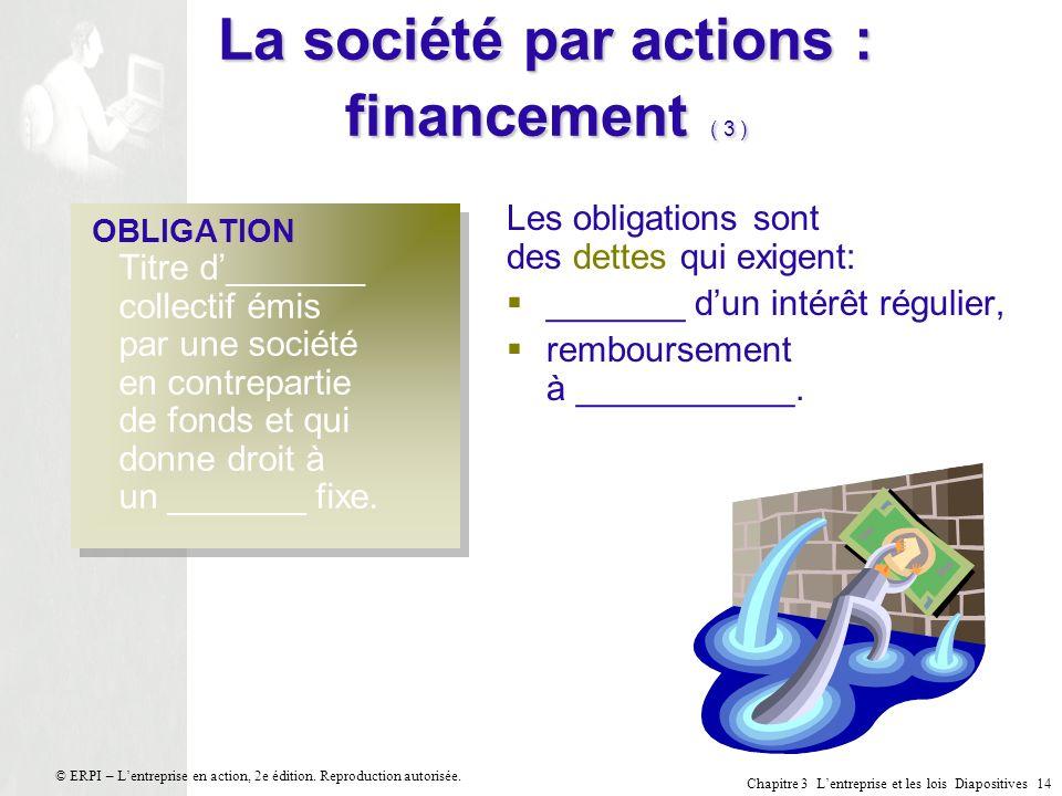 Chapitre 3 Lentreprise et les lois Diapositives 14 © ERPI – Lentreprise en action, 2e édition. Reproduction autorisée. La société par actions : financ