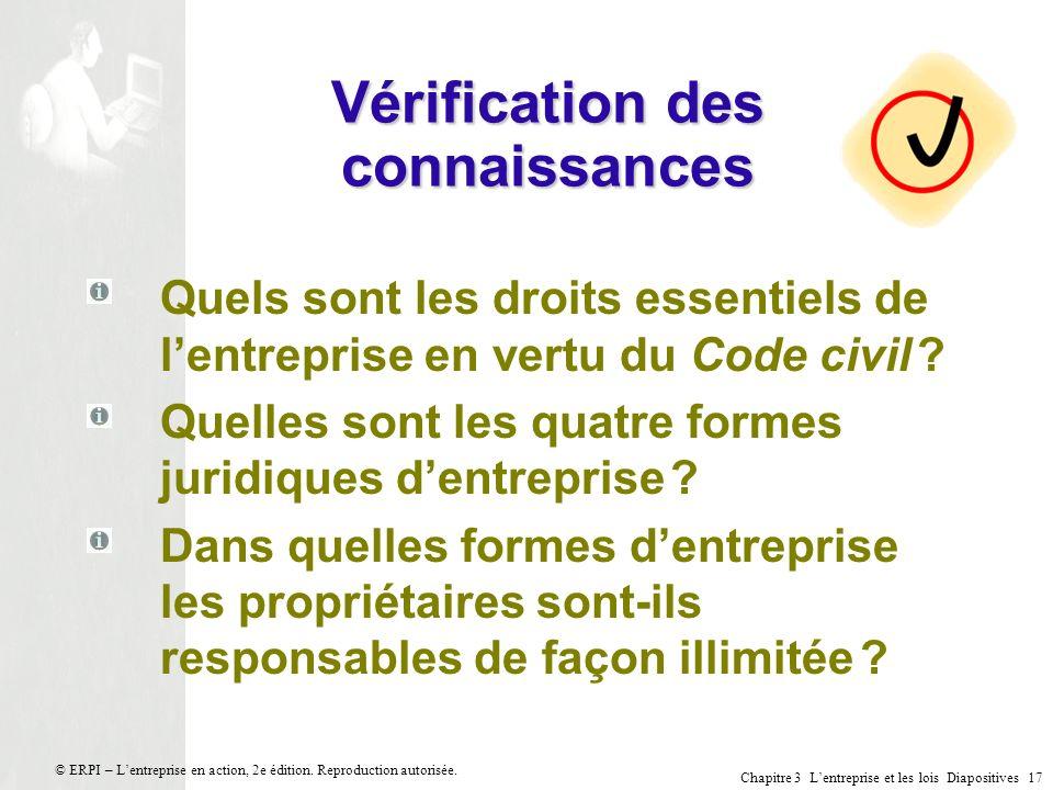 Chapitre 3 Lentreprise et les lois Diapositives 17 © ERPI – Lentreprise en action, 2e édition. Reproduction autorisée. Vérification des connaissances
