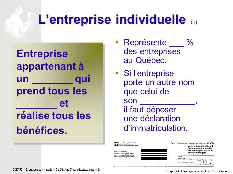 Chapitre 3 Lentreprise et les lois Diapositives 5 © ERPI – Lentreprise en action, 2e édition.