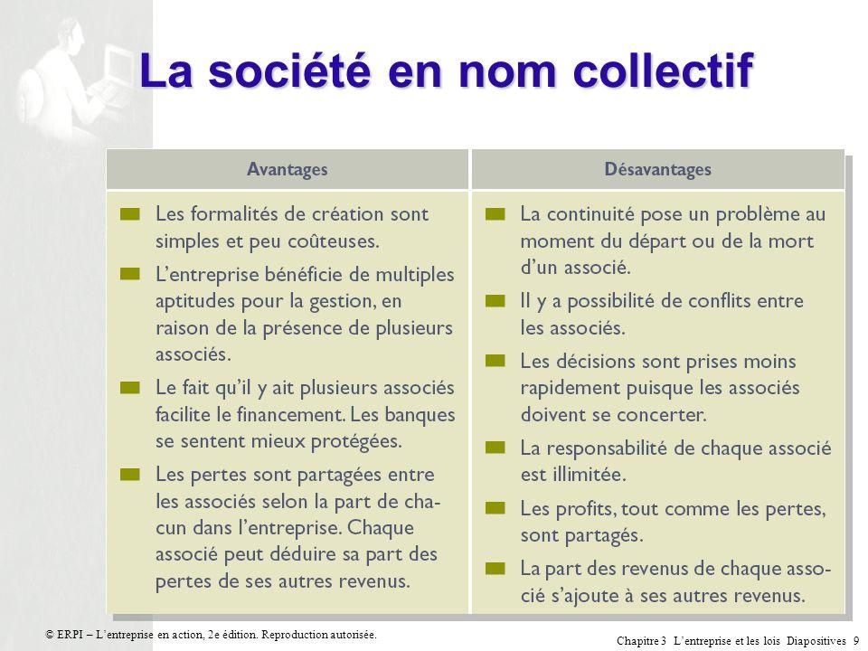 Chapitre 3 Lentreprise et les lois Diapositives 10 © ERPI – Lentreprise en action, 2e édition.