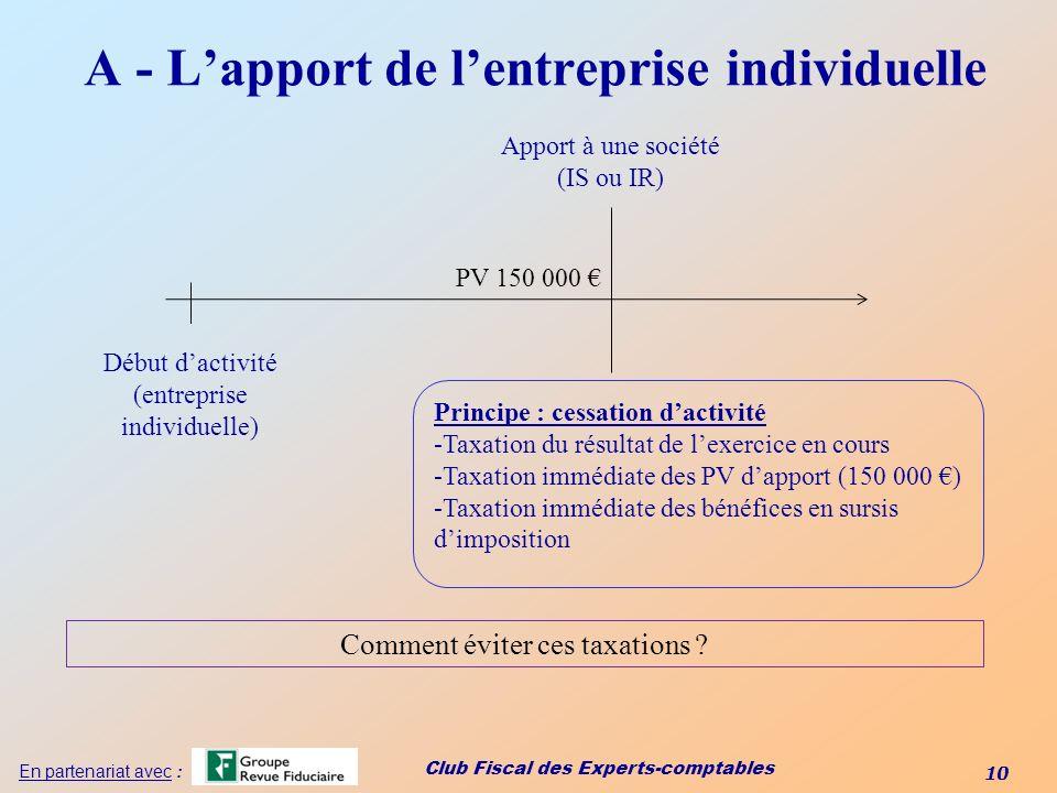 Club Fiscal des Experts-comptables 10 En partenariat avec : A - Lapport de lentreprise individuelle Début dactivité (entreprise individuelle) Apport à