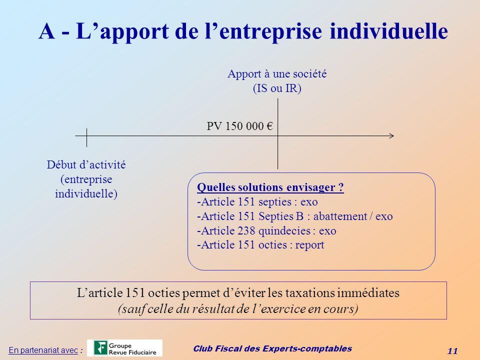 Club Fiscal des Experts-comptables 11 En partenariat avec : Début dactivité (entreprise individuelle) Apport à une société (IS ou IR) PV 150 000 Quell