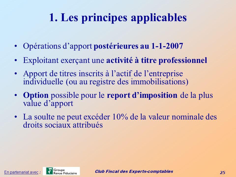 Club Fiscal des Experts-comptables 25 En partenariat avec : 1. Les principes applicables Opérations dapport postérieures au 1-1-2007 Exploitant exerça