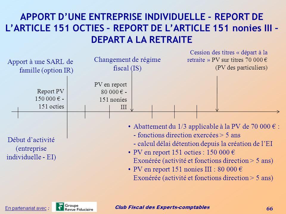 Club Fiscal des Experts-comptables 66 En partenariat avec : APPORT DUNE ENTREPRISE INDIVIDUELLE - REPORT DE LARTICLE 151 OCTIES – REPORT DE LARTICLE 1
