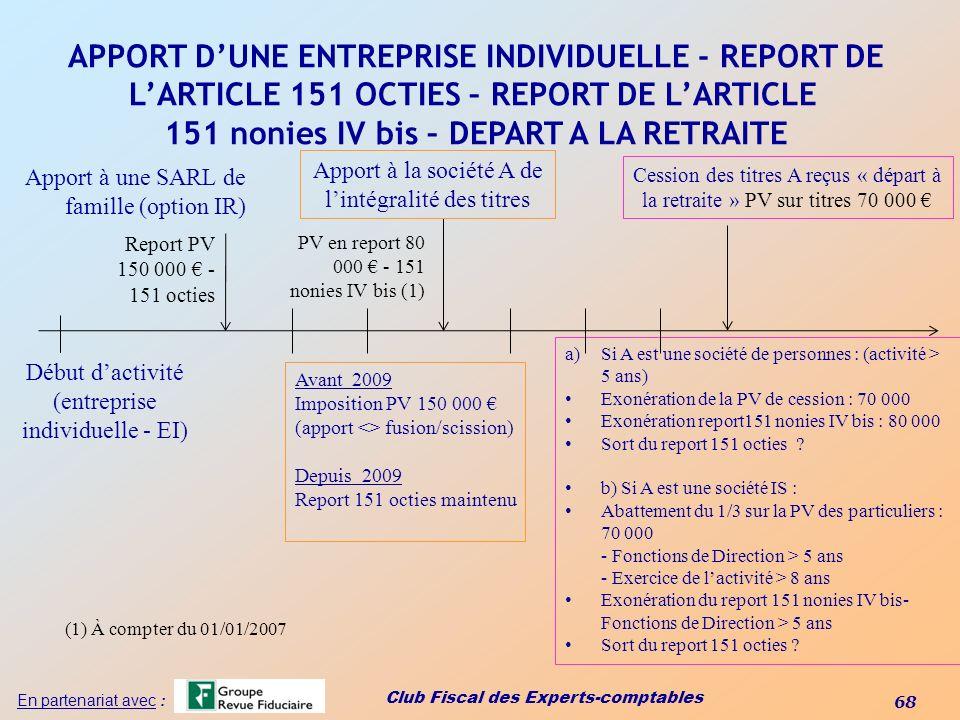 Club Fiscal des Experts-comptables 68 En partenariat avec : APPORT DUNE ENTREPRISE INDIVIDUELLE - REPORT DE LARTICLE 151 OCTIES – REPORT DE LARTICLE 1