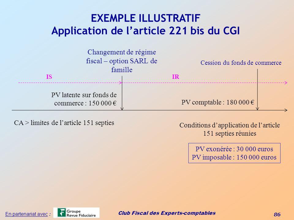 Club Fiscal des Experts-comptables 86 En partenariat avec : EXEMPLE ILLUSTRATIF Application de larticle 221 bis du CGI CA > limites de larticle 151 se