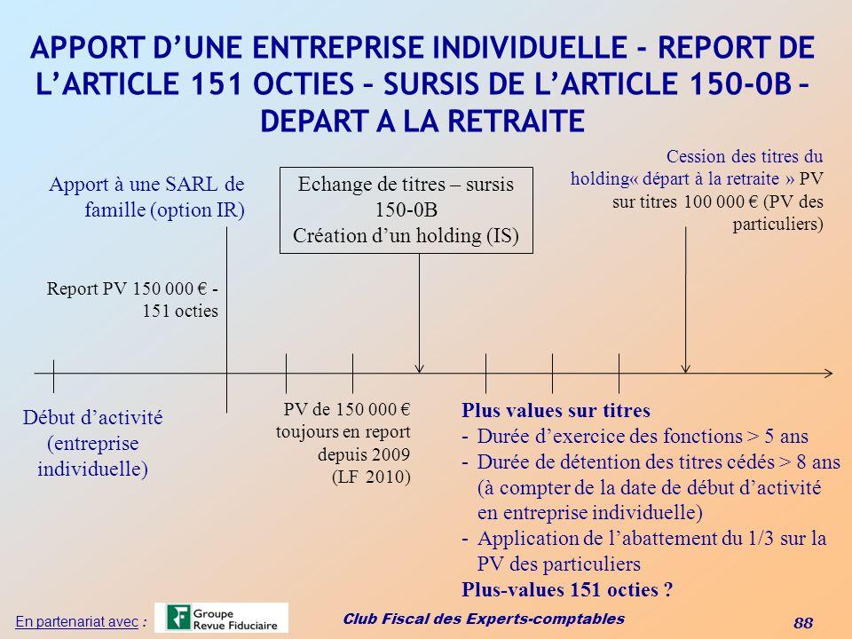 Club Fiscal des Experts-comptables 88 En partenariat avec : APPORT DUNE ENTREPRISE INDIVIDUELLE - REPORT DE LARTICLE 151 OCTIES – SURSIS DE LARTICLE 1