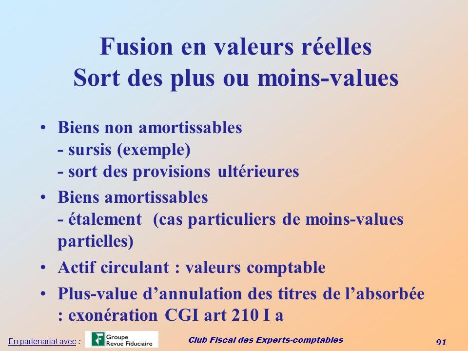 Club Fiscal des Experts-comptables 91 En partenariat avec : Fusion en valeurs réelles Sort des plus ou moins-values Biens non amortissables - sursis (