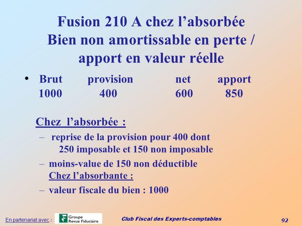 Club Fiscal des Experts-comptables 92 En partenariat avec : Fusion 210 A chez labsorbée Bien non amortissable en perte / apport en valeur réelle Brut