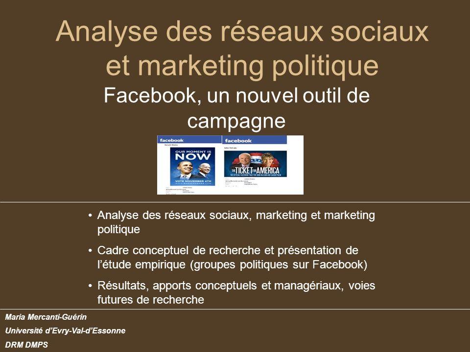 Analyse des réseaux sociaux et marketing politique Facebook, un nouvel outil de campagne Maria Mercanti-Guérin Université dEvry-Val-dEssonne DRM DMPS