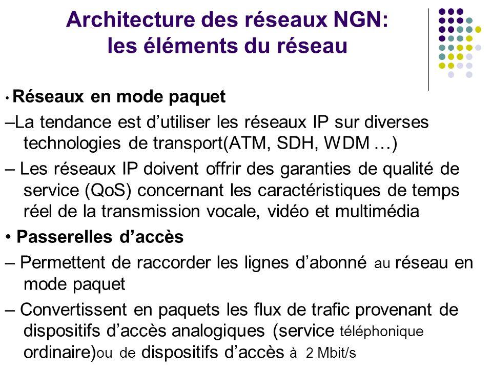 Architecture des réseaux NGN: les éléments du réseau Réseaux en mode paquet –La tendance est dutiliser les réseaux IP sur diverses technologies de tra
