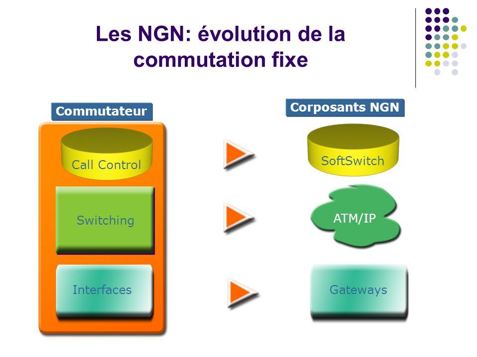 Les NGN: évolution de la commutation fixe Switching Call Control Interfaces ATM/IP SoftSwitch Gateways Commutateur Corposants NGN