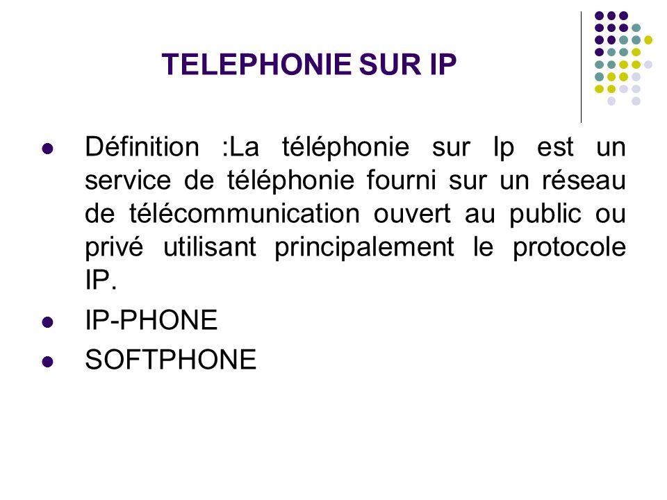 TELEPHONIE SUR IP Définition :La téléphonie sur Ip est un service de téléphonie fourni sur un réseau de télécommunication ouvert au public ou privé ut