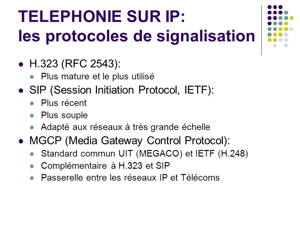 TELEPHONIE SUR IP: les protocoles de signalisation H.323 (RFC 2543): Plus mature et le plus utilisé SIP (Session Initiation Protocol, IETF): Plus réce