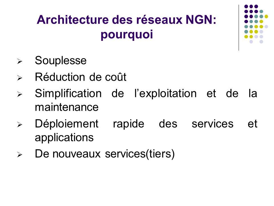 Architecture des réseaux NGN: pourquoi Souplesse Réduction de coût Simplification de lexploitation et de la maintenance Déploiement rapide des service