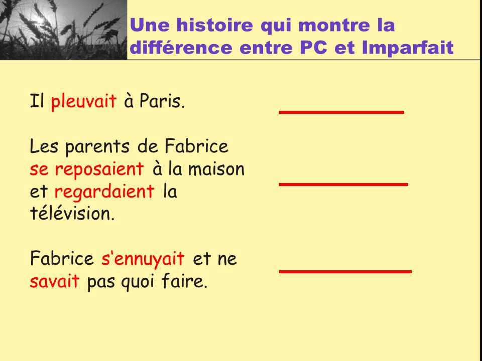 Il pleuvait à Paris. Les parents de Fabrice se reposaient à la maison et regardaient la télévision. Fabrice sennuyait et ne savait pas quoi faire. Une