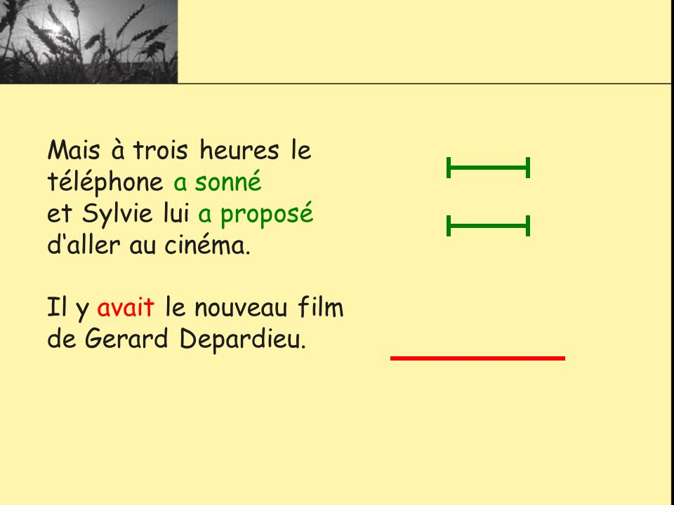 Mais à trois heures le téléphone a sonné et Sylvie lui a proposé daller au cinéma. Il y avait le nouveau film de Gerard Depardieu.