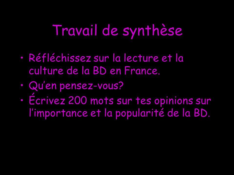 Travail de synthèse Réfléchissez sur la lecture et la culture de la BD en France. Quen pensez-vous? Écrivez 200 mots sur tes opinions sur limportance