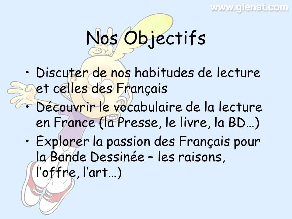 Nos Objectifs Discuter de nos habitudes de lecture et celles des Français Découvrir le vocabulaire de la lecture en France (la Presse, le livre, la BD