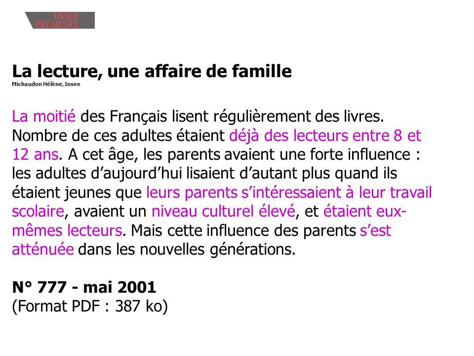 La lecture, une affaire de famille Michaudon Hélène, Insee La moitié des Français lisent régulièrement des livres. Nombre de ces adultes étaient déjà
