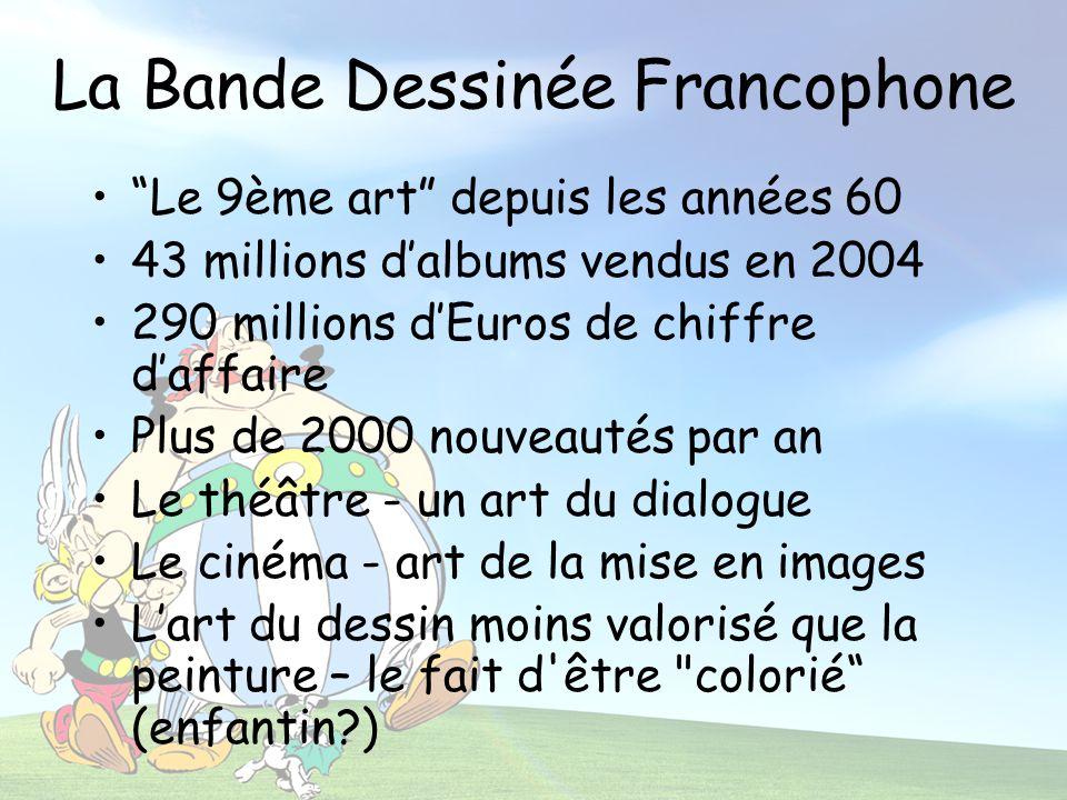 La Bande Dessinée Francophone Le 9ème art depuis les années 60 43 millions dalbums vendus en 2004 290 millions dEuros de chiffre daffaire Plus de 2000