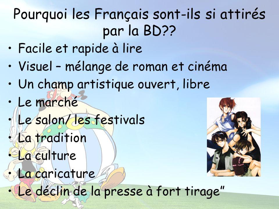 Pourquoi les Français sont-ils si attirés par la BD?? Facile et rapide à lire Visuel – mélange de roman et cinéma Un champ artistique ouvert, libre Le