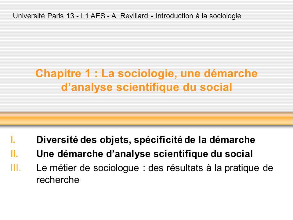 Chapitre 1 : La sociologie, une démarche danalyse scientifique du social I.Diversité des objets, spécificité de la démarche II.Une démarche danalyse s