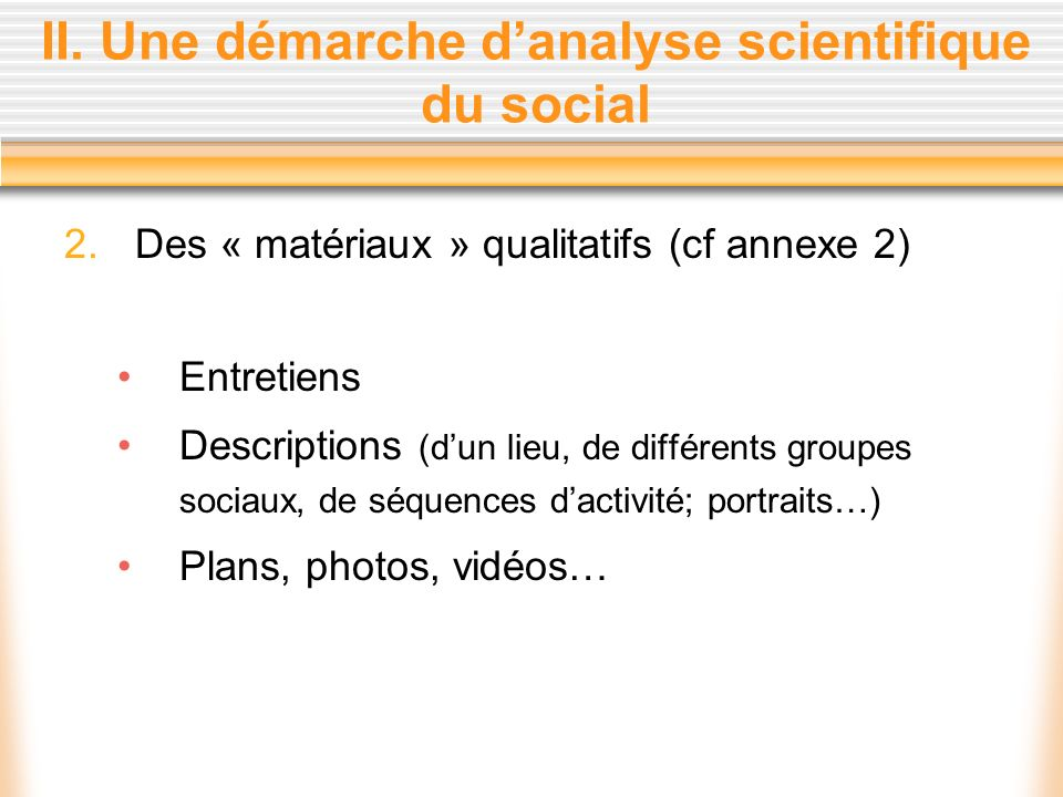 II. Une démarche danalyse scientifique du social 2.Des « matériaux » qualitatifs (cf annexe 2) Entretiens Descriptions (dun lieu, de différents groupe