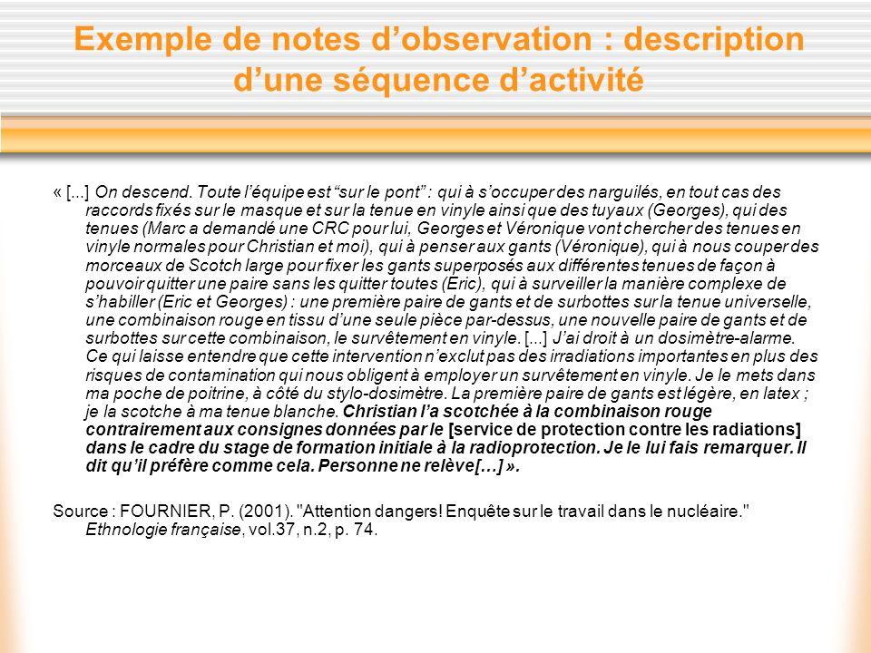 Exemple de notes dobservation : description dune séquence dactivité « [...] On descend. Toute léquipe est sur le pont : qui à soccuper des narguilés,