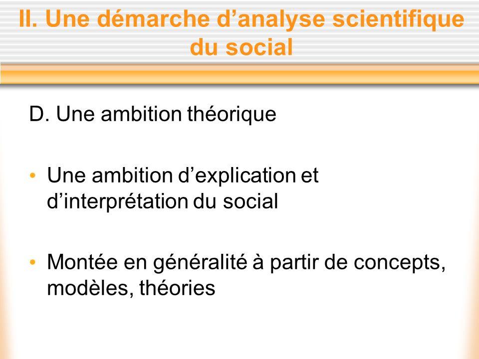 II. Une démarche danalyse scientifique du social D. Une ambition théorique Une ambition dexplication et dinterprétation du social Montée en généralité