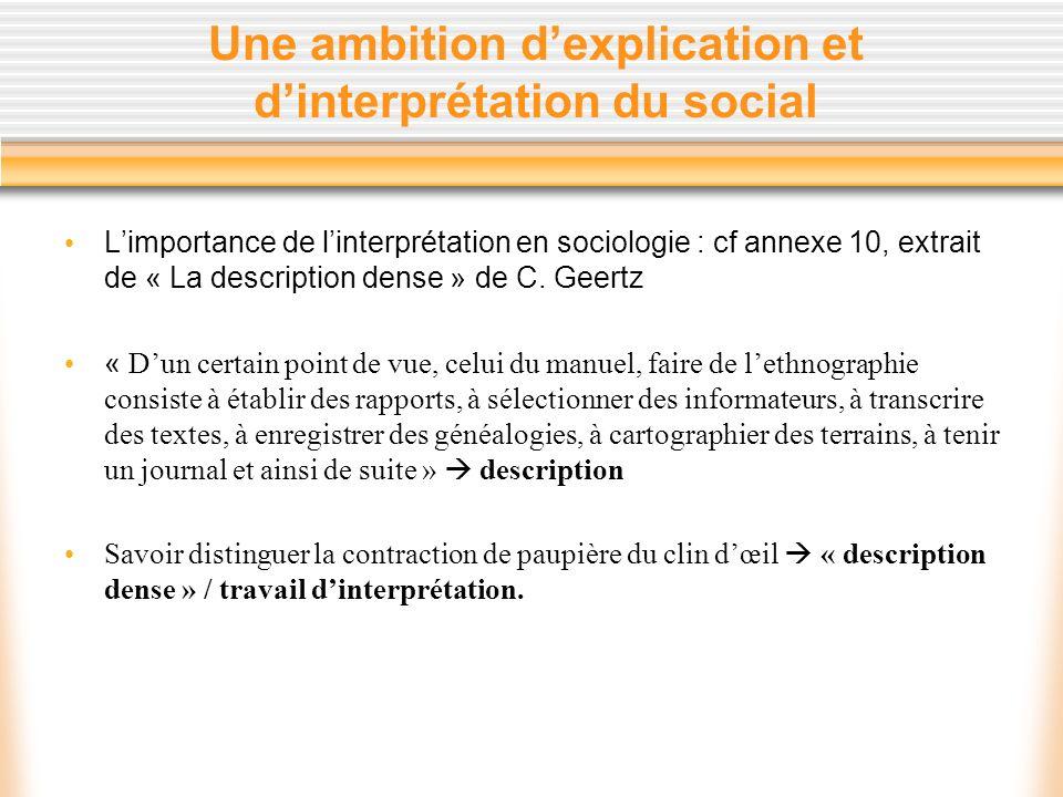 Une ambition dexplication et dinterprétation du social Limportance de linterprétation en sociologie : cf annexe 10, extrait de « La description dense