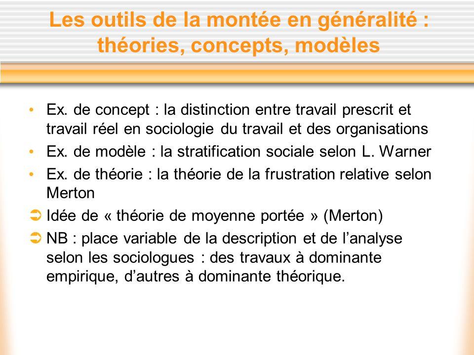 Les outils de la montée en généralité : théories, concepts, modèles Ex. de concept : la distinction entre travail prescrit et travail réel en sociolog