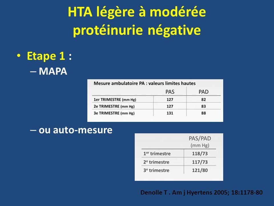 Etape 1 : – MAPA – ou auto-mesure Denolle T. Am j Hyertens 2005; 18:1178-80