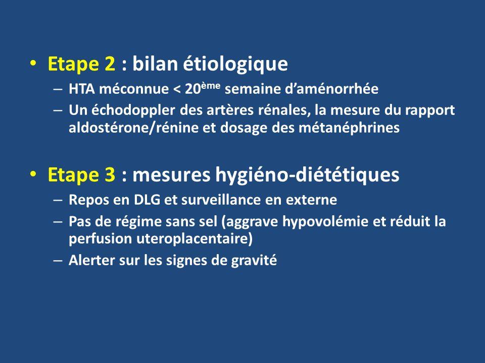 Etape 2 : bilan étiologique – HTA méconnue < 20 ème semaine daménorrhée – Un échodoppler des artères rénales, la mesure du rapport aldostérone/rénine