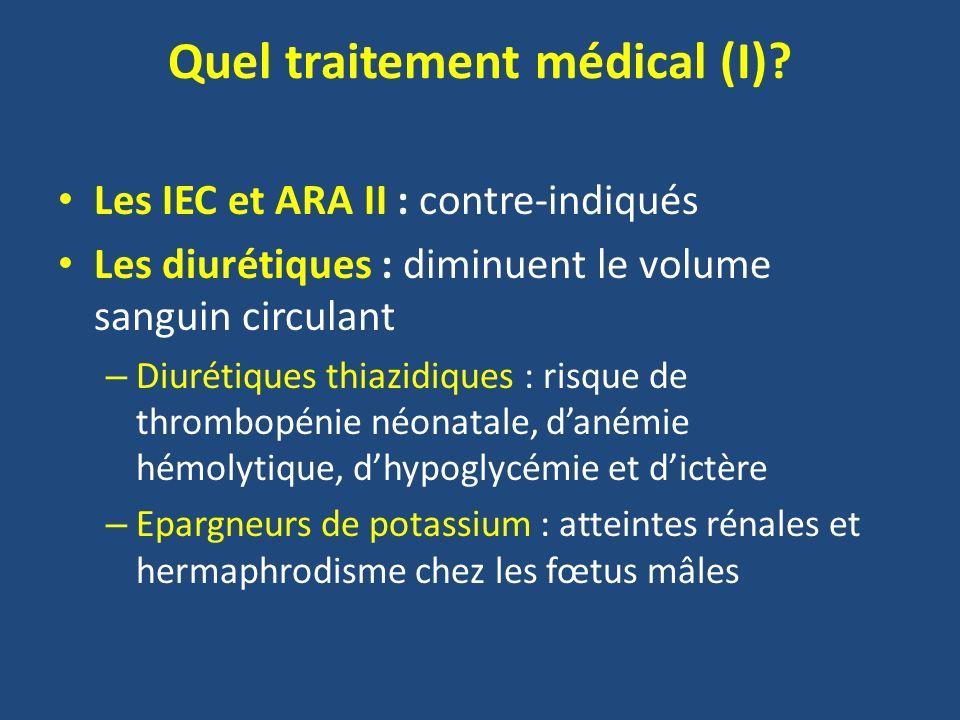 Quel traitement médical (I)? Les IEC et ARA II : contre-indiqués Les diurétiques : diminuent le volume sanguin circulant – Diurétiques thiazidiques :