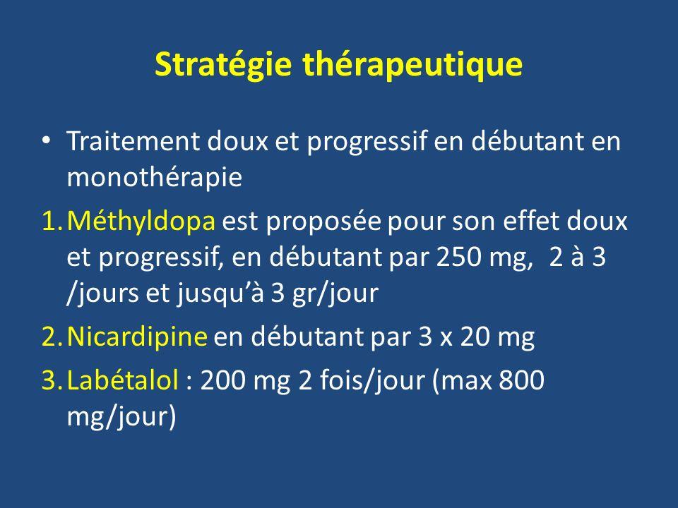 Stratégie thérapeutique Traitement doux et progressif en débutant en monothérapie 1.Méthyldopa est proposée pour son effet doux et progressif, en débu