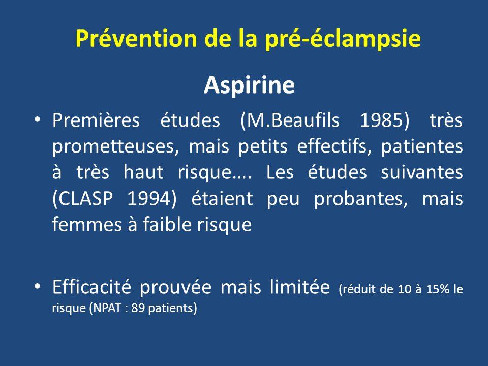 Prévention de la pré-éclampsie Premières études (M.Beaufils 1985) très prometteuses, mais petits effectifs, patientes à très haut risque…. Les études