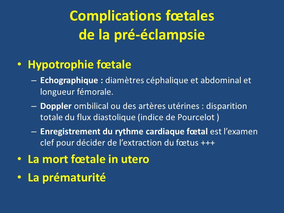 Complications fœtales de la pré-éclampsie Hypotrophie fœtale – Echographique : diamètres céphalique et abdominal et longueur fémorale. – Doppler ombil