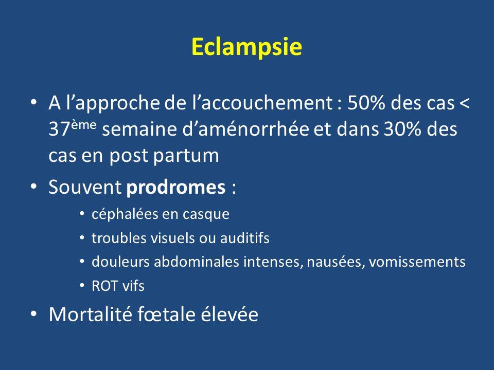 Eclampsie A lapproche de laccouchement : 50% des cas < 37 ème semaine daménorrhée et dans 30% des cas en post partum Souvent prodromes : céphalées en