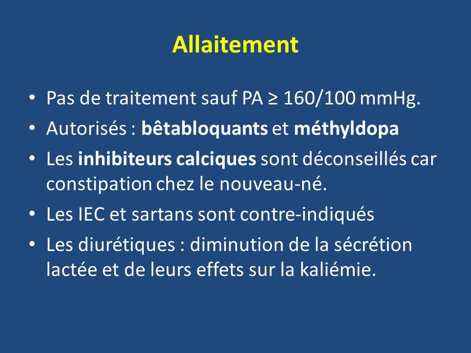 Allaitement Pas de traitement sauf PA 160/100 mmHg. Autorisés : bêtabloquants et méthyldopa Les inhibiteurs calciques sont déconseillés car constipati