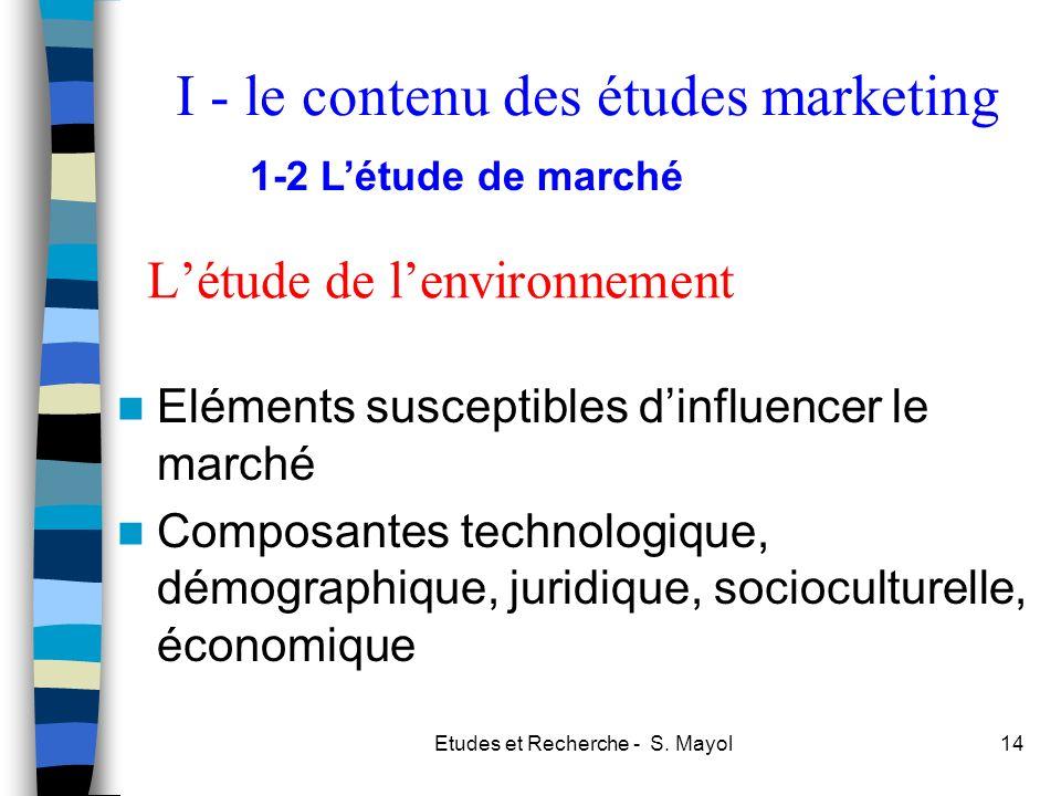 Etudes et Recherche - S. Mayol14 Létude de lenvironnement Eléments susceptibles dinfluencer le marché Composantes technologique, démographique, juridi