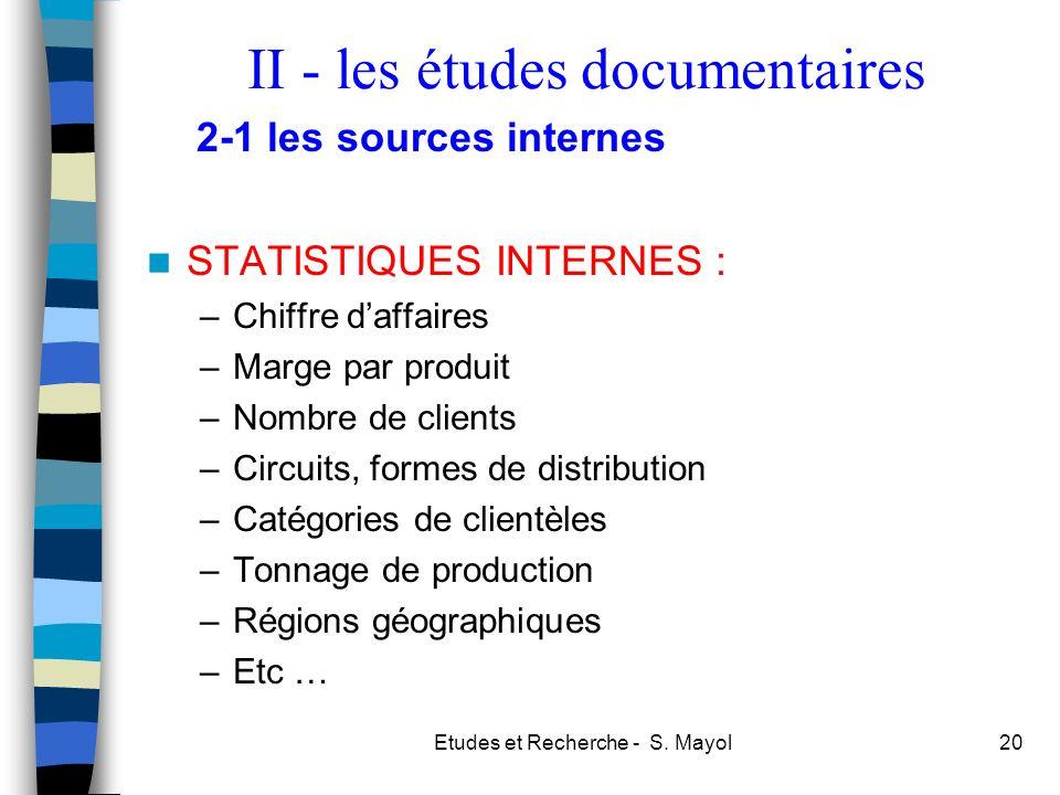 Etudes et Recherche - S. Mayol20 STATISTIQUES INTERNES : –Chiffre daffaires –Marge par produit –Nombre de clients –Circuits, formes de distribution –C