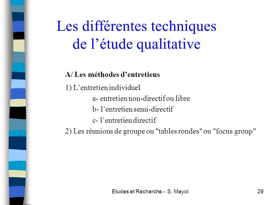 Etudes et Recherche - S. Mayol29 Les différentes techniques de létude qualitative A/ Les méthodes dentretiens 1) Lentretien individuel a- entretien no