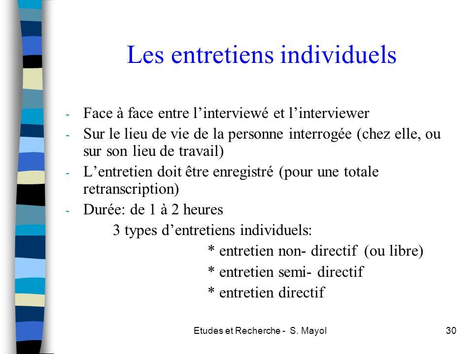 Etudes et Recherche - S. Mayol30 Les entretiens individuels - Face à face entre linterviewé et linterviewer - Sur le lieu de vie de la personne interr